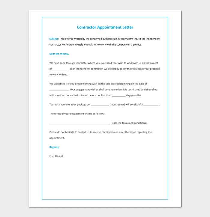 Contractor Appointment Letter Doc