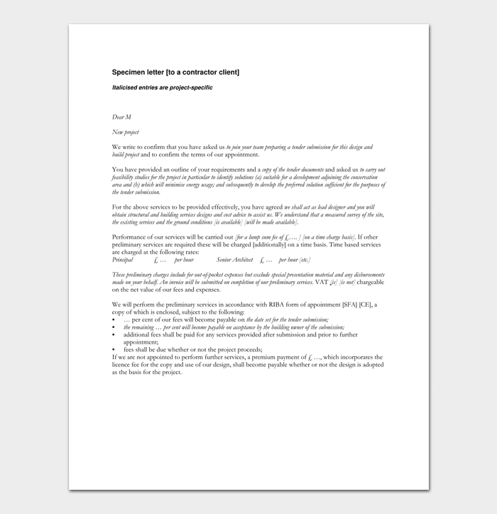 Contractor Appointment Letter Sample