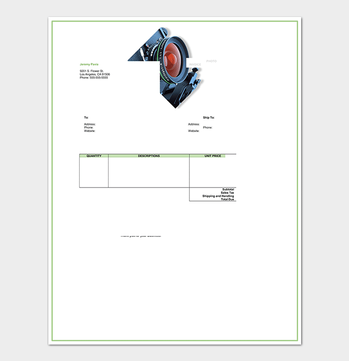 Photography Receipt Template 17 For Word Excel Pdf Format