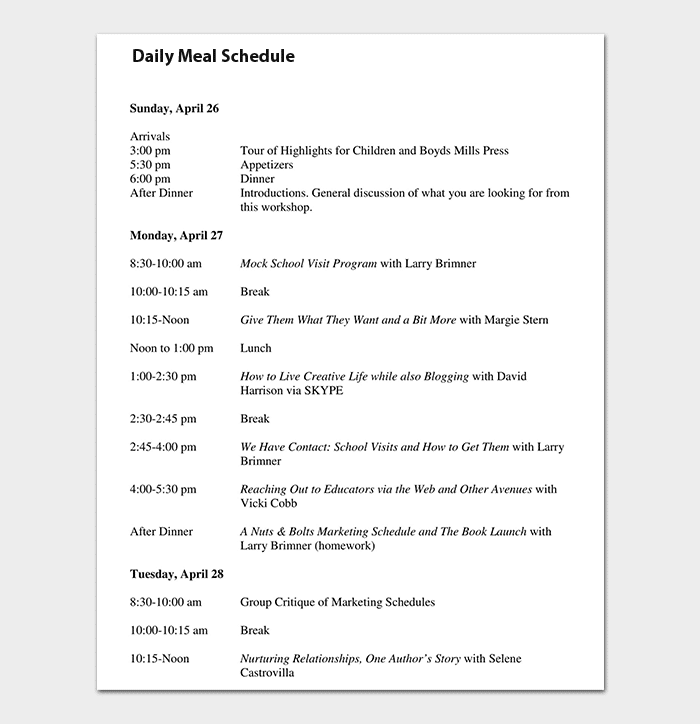 Daily Meal Schedule Sample