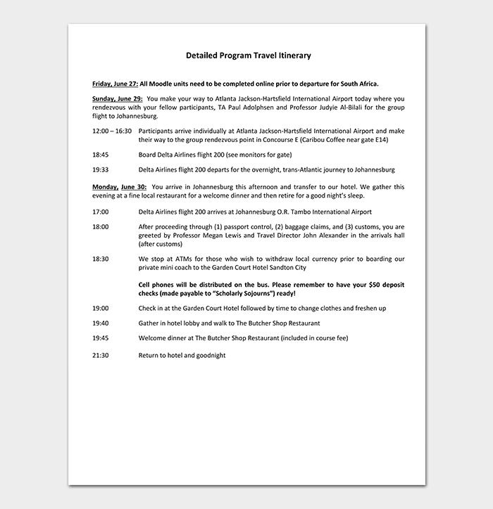 Detailed Business Program Travel Itinerary Template