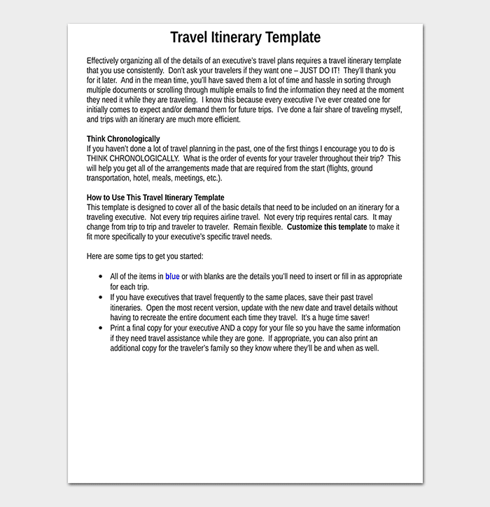 Business Travel Itinerary Template - 23+ (Word, Excel & PDF)
