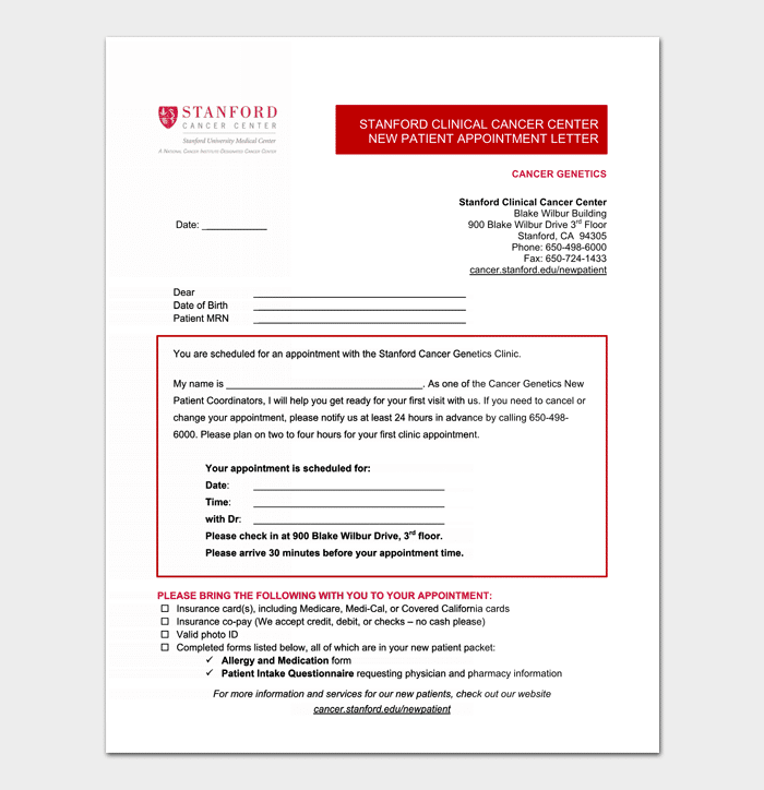 Doctors Appointment Letter - 13+ (Sample Letters & Formats)