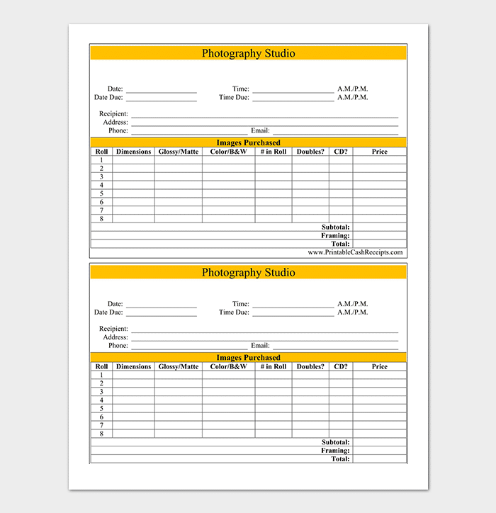 Double Set Event Photography Invoice Template