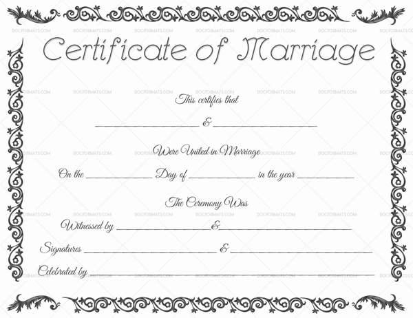 Editable Marriage Certificate 1