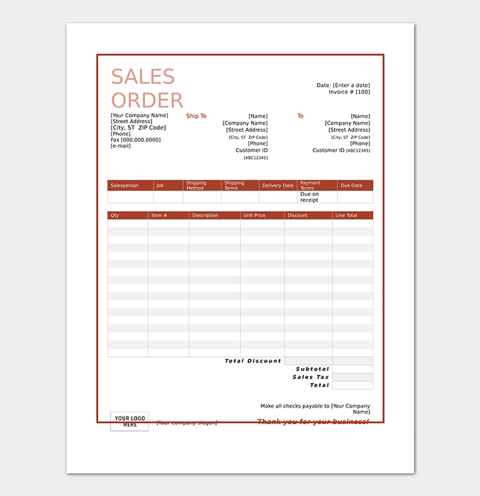 Nice Editable Sales Order Template