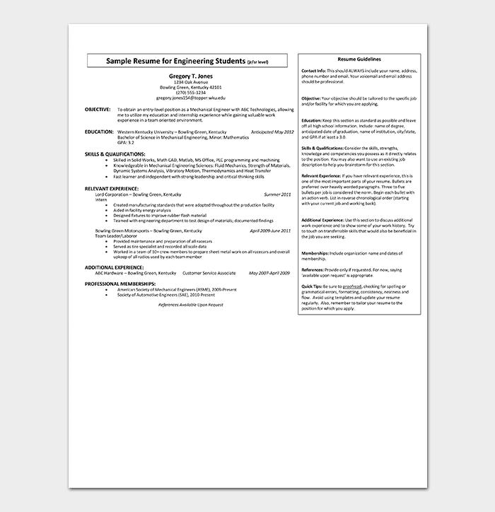 Engineering Internship Resume Sample