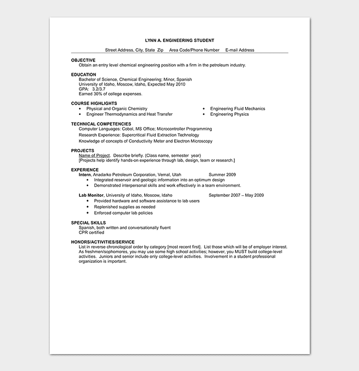 Entry Level Chemical Engineering Resume Template