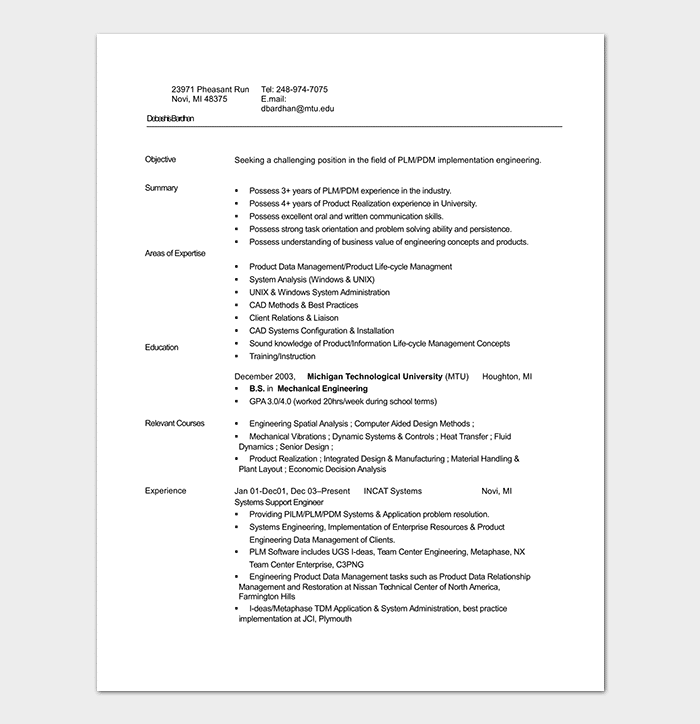 Entry Level Mechanical Engineering Resume Template
