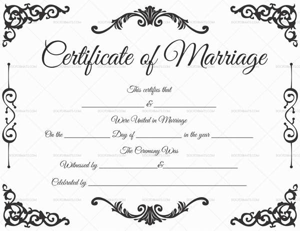 Fillable Marriage Certificate 1