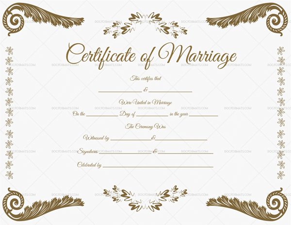 Fillable Marriage Certificate Format 1