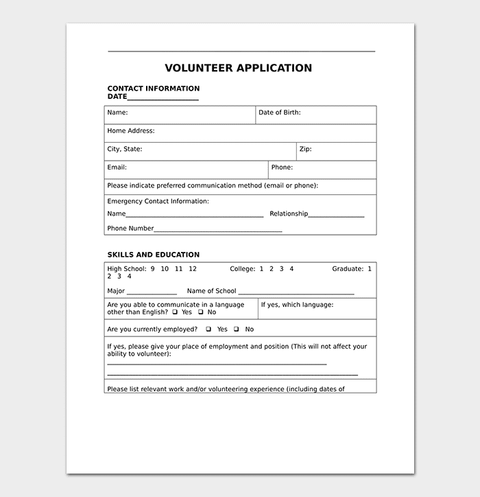 Fillable Volunteer Application Template