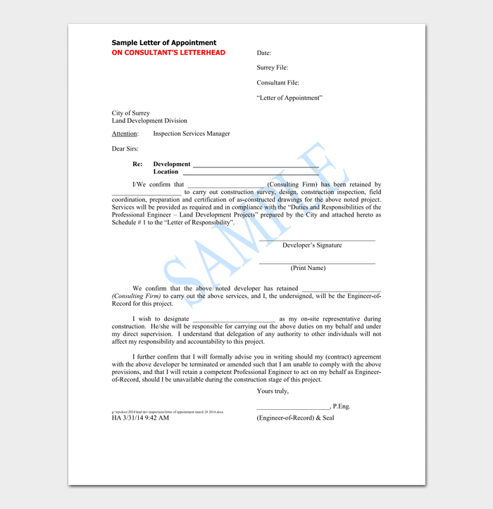 Free Contractor Appointment Letter
