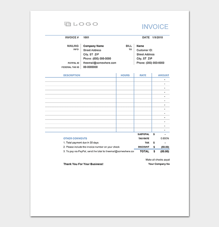 General Invoice Template Spreadsheet  General Invoice