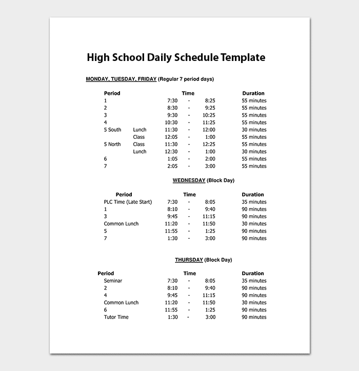 High School Daily Schedule Template