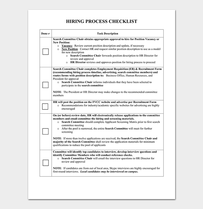 Hiring Process Checklist Template  Editable Checklist Template