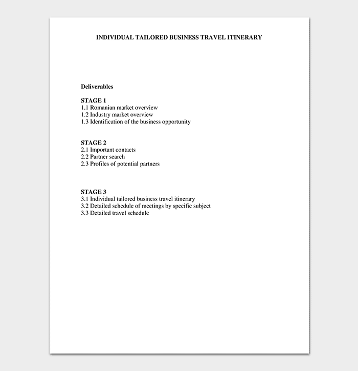 Individual Tailored Business Travel Itinerary Template