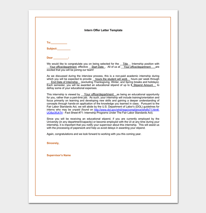Internship Appointment Letter 17 Letter Samples Formats