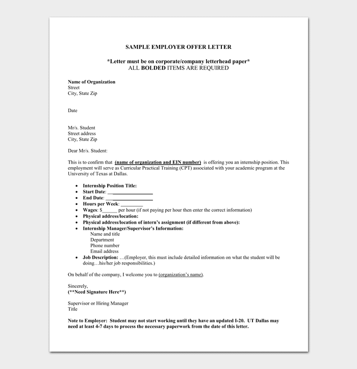 Internship appointment letter 17 letter samples formats internship confirmation letter altavistaventures Image collections