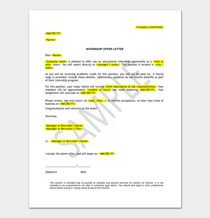 Internship appointment Letter Format