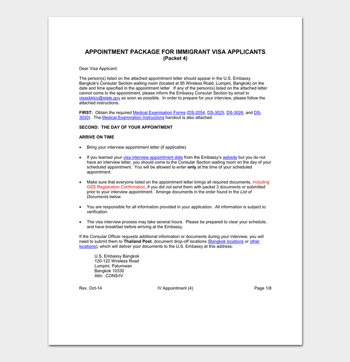 Interview Appointment Letter For US Visa