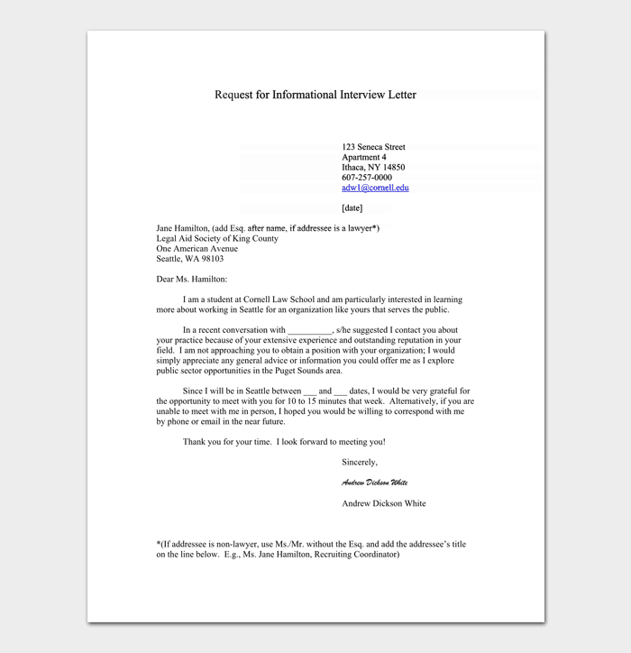 Interview Appointment Request Letter Sample