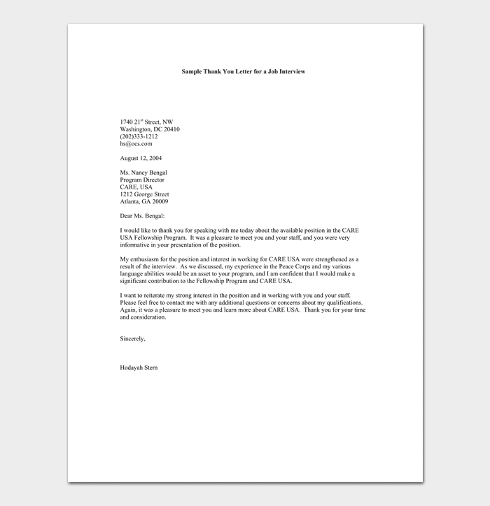 Interview Appointment Thank You Letter
