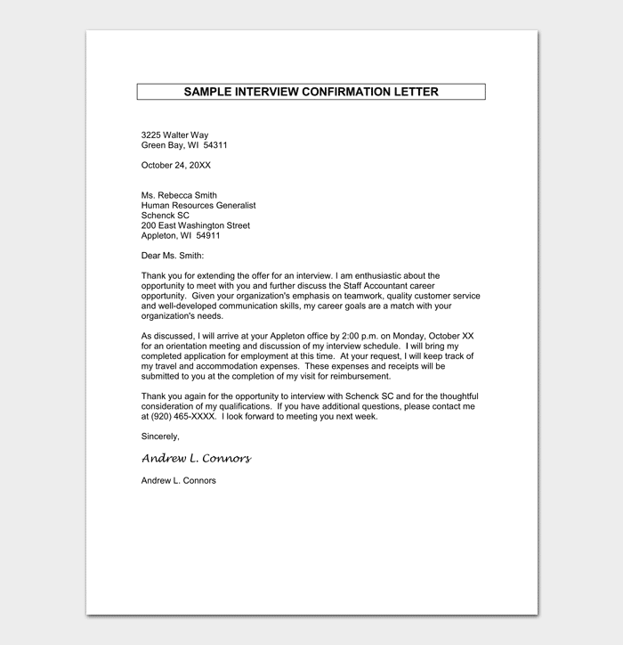 Job Appointment Confirmation Letter Sample