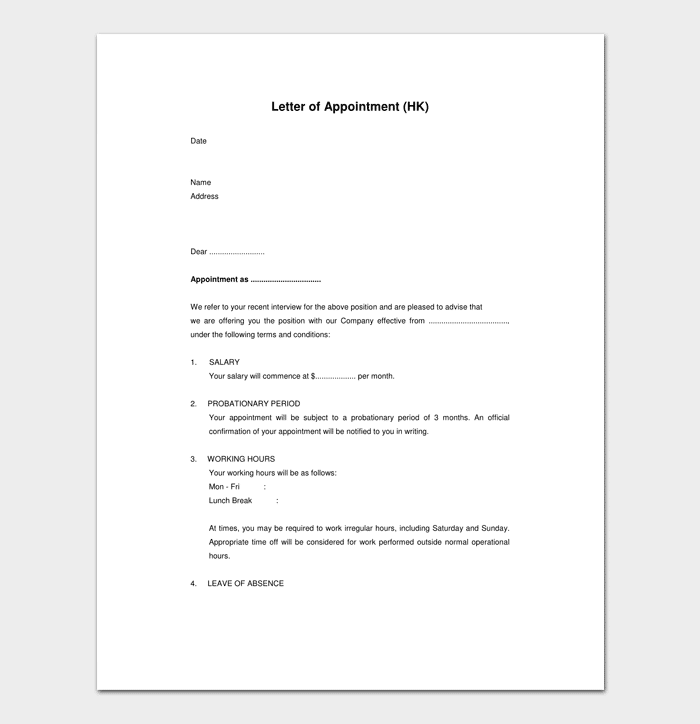Job Appointment Letter Sample