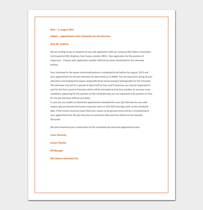 Job Interview Appointment Letter Example