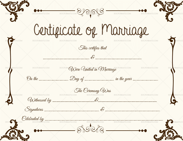 Keepsake Marriage Certificate Template 1