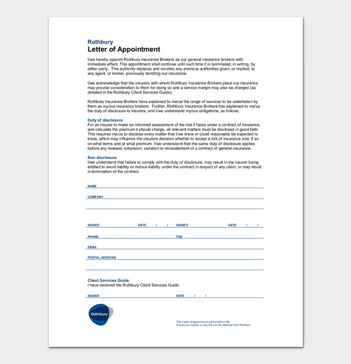 Letter of Agent Appointment Format