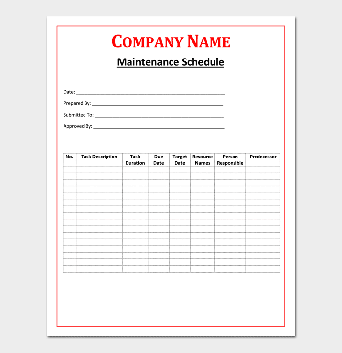 Maintenance Schedule Template for Word