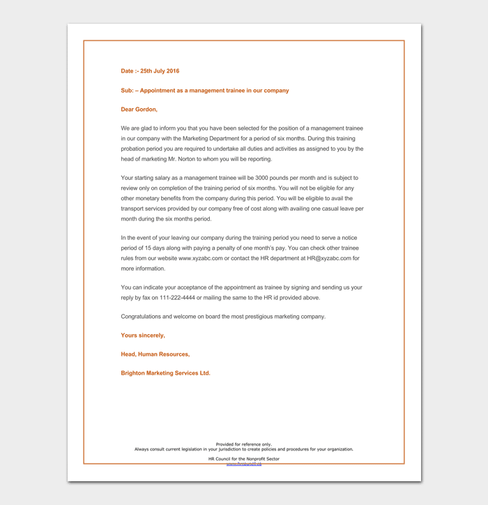 Management Trainee Appointment Letter