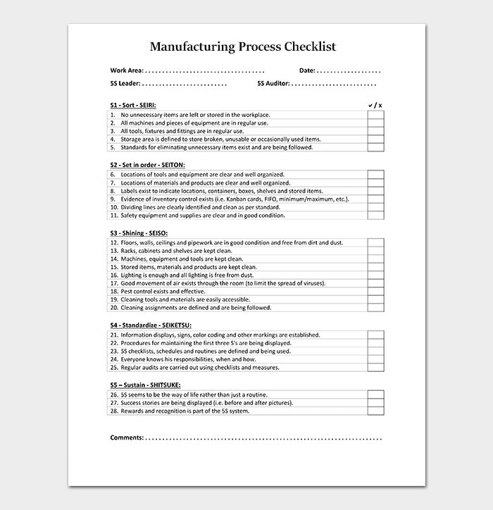 Manufacturing Checklist Template