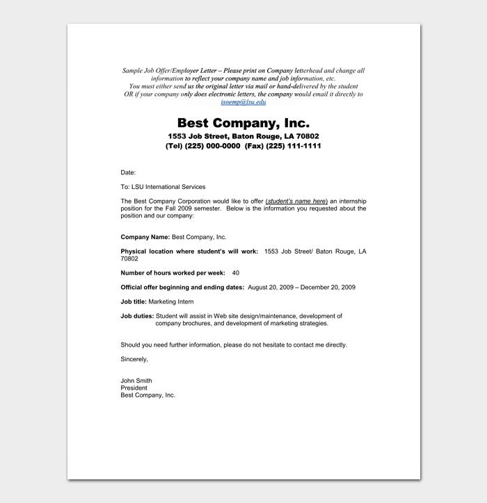Marketing Internship Appointment Letter Sample