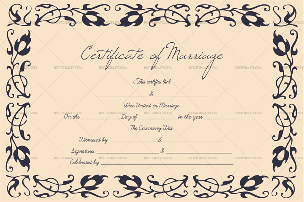 Marriage Certificate Format—Pink, Blue (Preview)