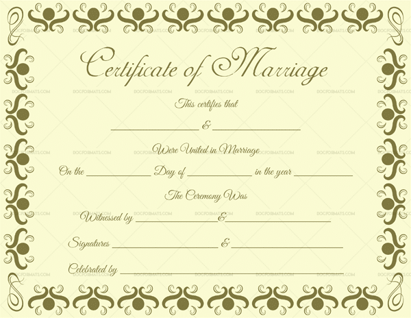 Marriage Certificate Format in English 1