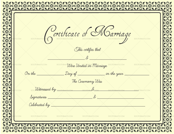 Marriage Certificate Format in Word Dark Gold 1