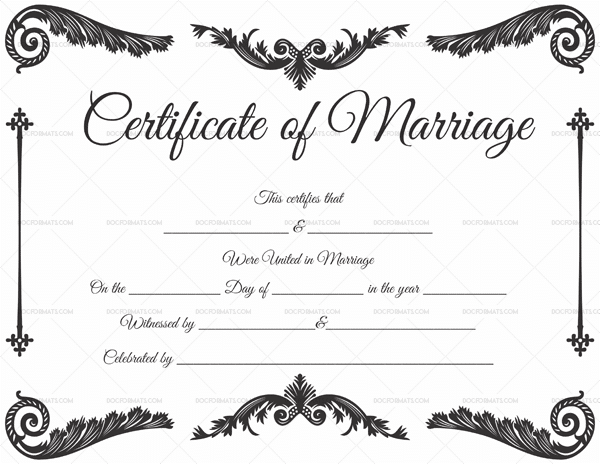Marriage Certificate PDF & Word 1