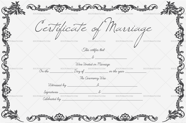 Marriage Certificate Template—Gray Design (Preview)
