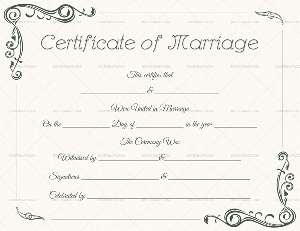 Marriage Certificate Template for Word 1