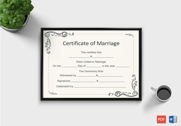 marriage certificate template for word