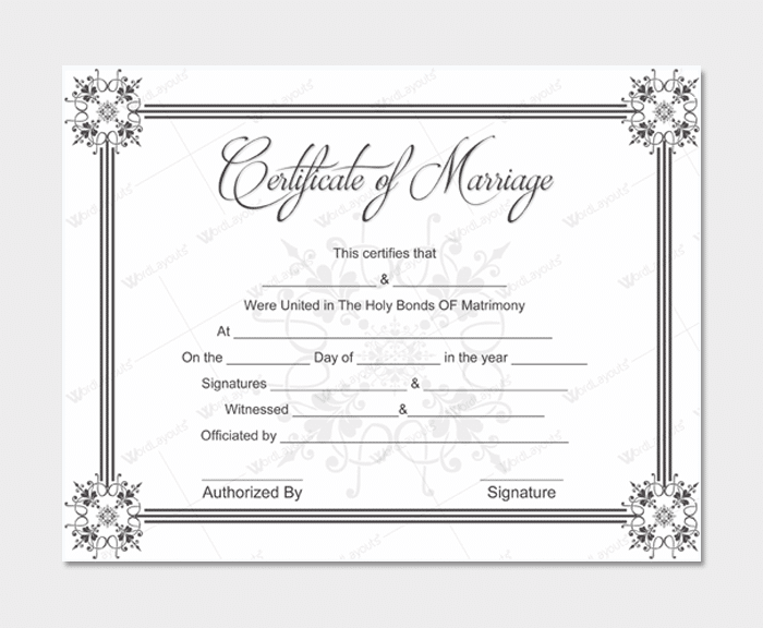 Marriage Certificate from WordLayouts # 1