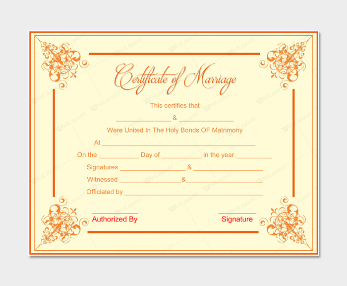 Marriage Certificate from WordLayouts # 2