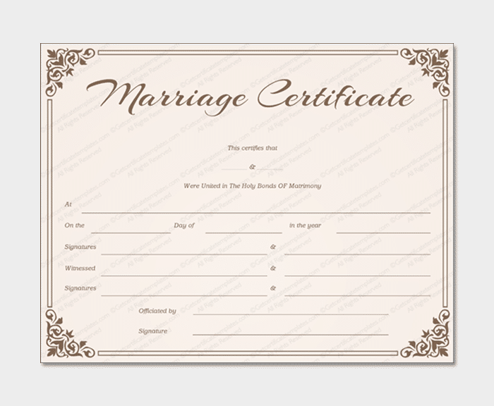 Marriage Certificate from getcertificatetemplates 1