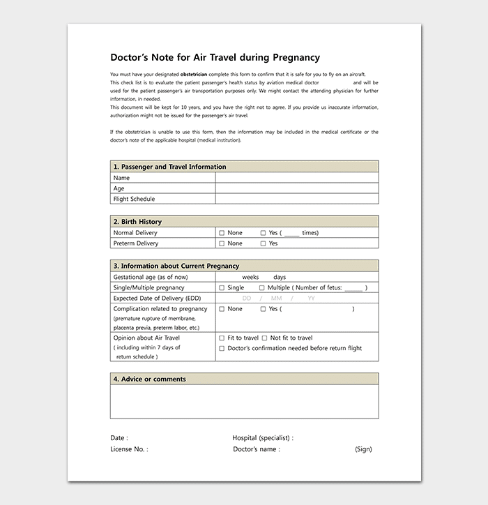 medical note template