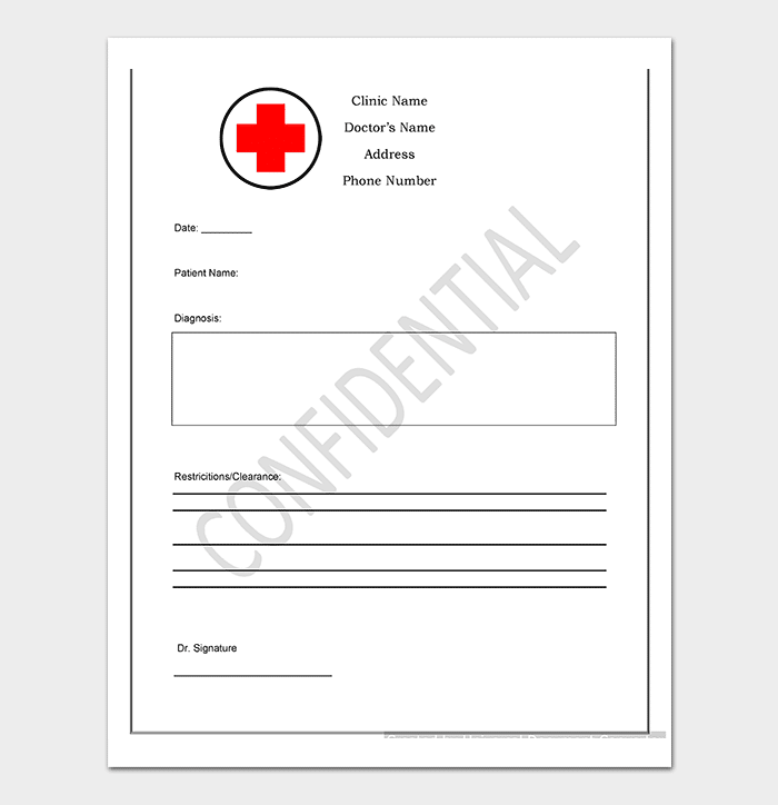 Medical Note Template Printable