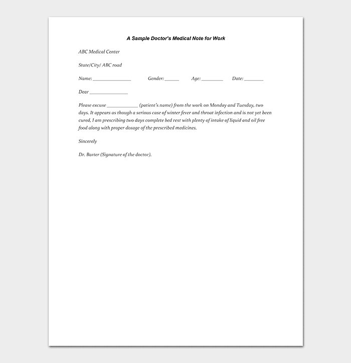 Medical Note Template 30 Doctor Note Samples