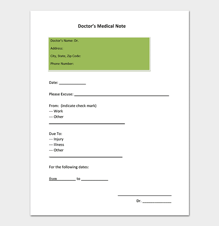 Medical Note Template   30+ Doctor Note Samples